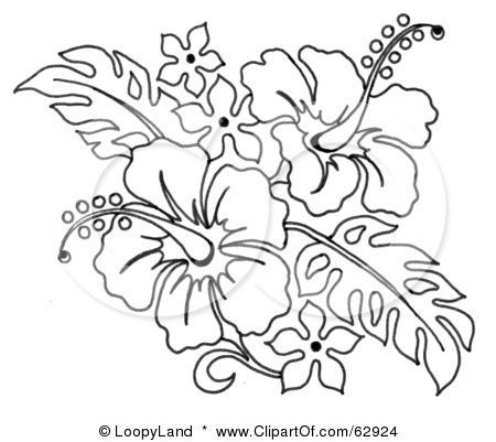Royalty Free Rf Clipart Illustration Of A Black And White Hibiscus Flower Bouquet By Loopyland Flower Line Drawings Flower Drawing Flower Coloring Pages