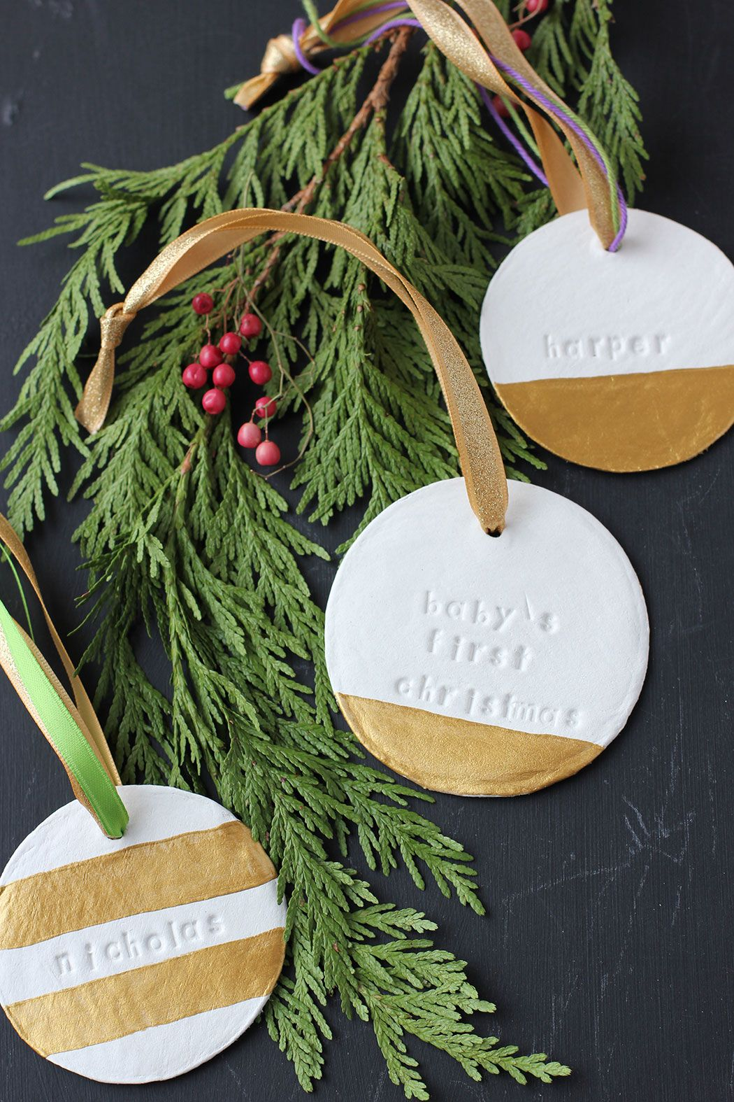 Diy Personalized Clay Ornaments Clay Christmas Decorations Diy Christmas Ornaments Easy First Christmas Ornament