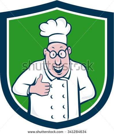 Illustration of a chef cook smiling wearing chef s hat and eyeglasses doing  a thumbs up viewed from front set inside shield crest on isolated  background ... 61ce678ef313