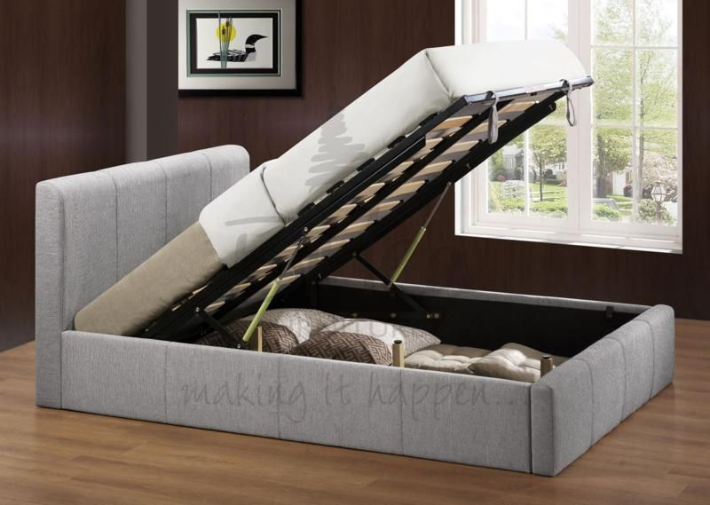 Best Birlea Brooklyn Lift Up Ottoman Storage Bed In Light Grey 400 x 300