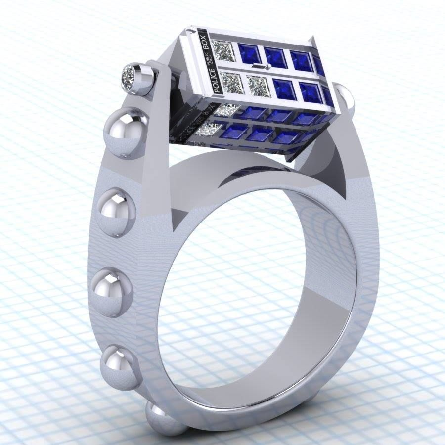 doctor who inspired spinning tardis rings - Dr Who Wedding Ring