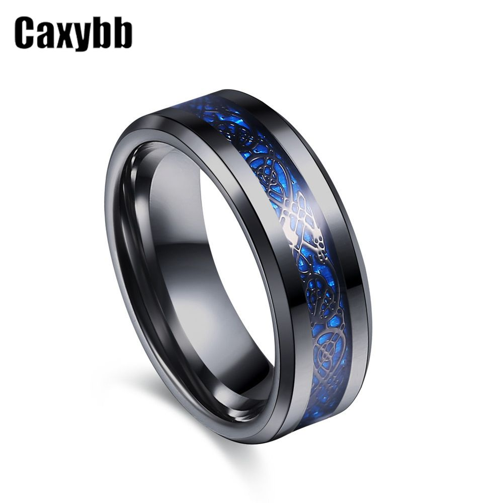 Gaxybb Hot sale Black Stainless Steel 316L Ring for Wedding Ring Fiber Ring Carbon Blue des Nibelungen Dragon Rings for Men