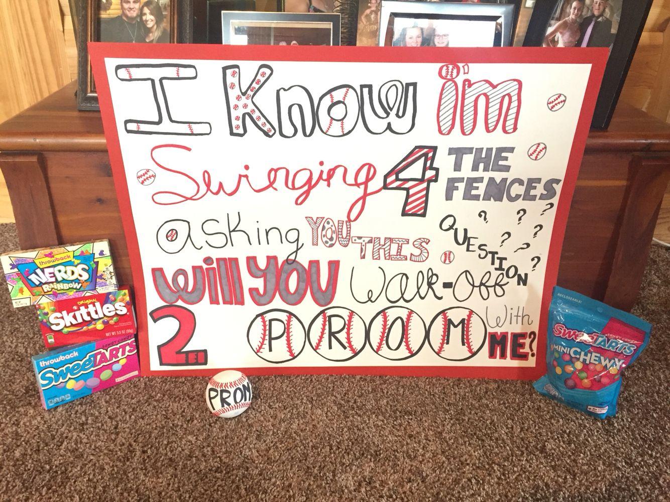 Cute ideas to ask a boy to sadie hawkins -  Prom Promposal Baseball Baseballproposal Love