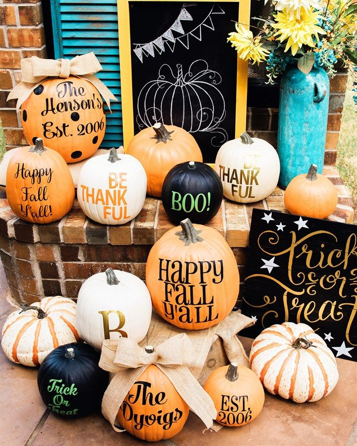 personalized pumpkin vinyl set of 2 - Personalized Halloween Decorations