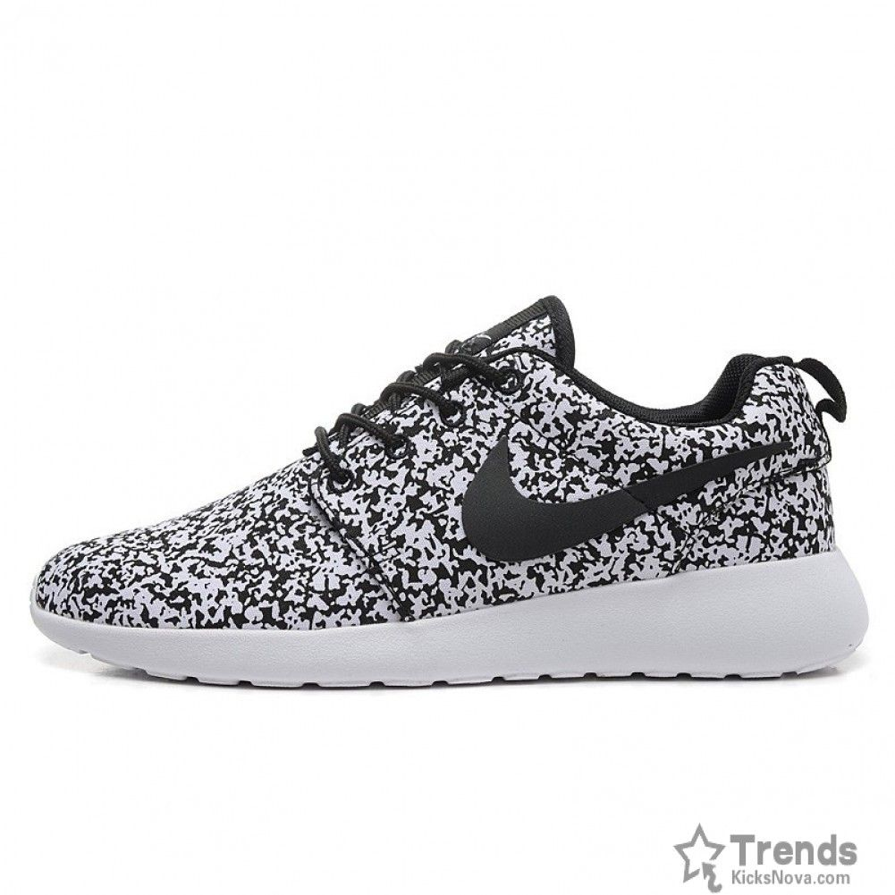 8e1897a860e4 Nike Roshe Run Speckled White Womens Mens Sail Black Flower Snow ...