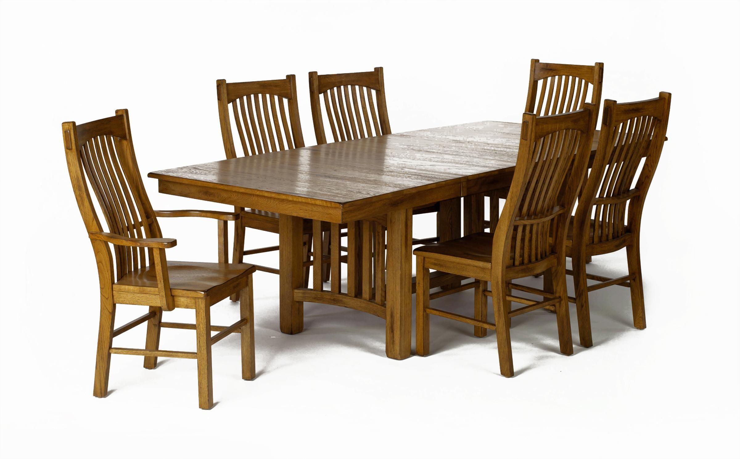 Laurelhurst Rectangular Trestle Dining Table And Slat Back Chair
