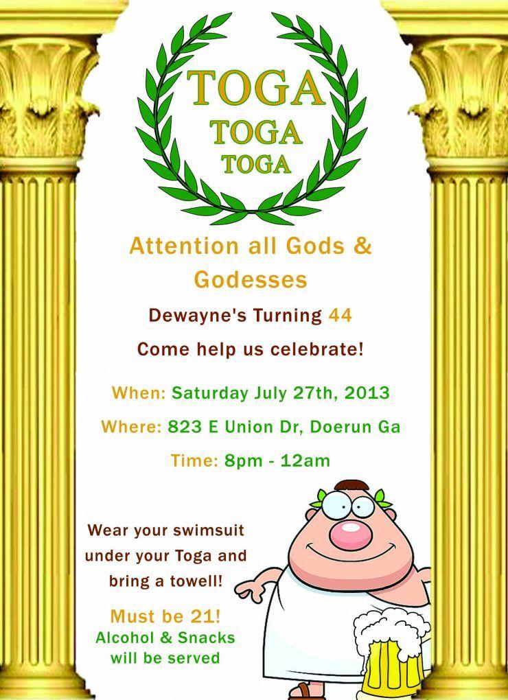 Greeting Toga Party Invite Design 2017 Toga Party Invitations