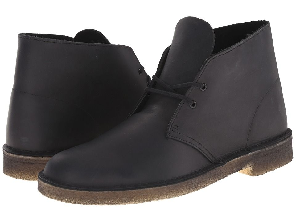 CLARKS CLARKS - DESERT BOOT (BLACK BEESWAX LEATHER) MEN'S LACE-UP BOOTS.
