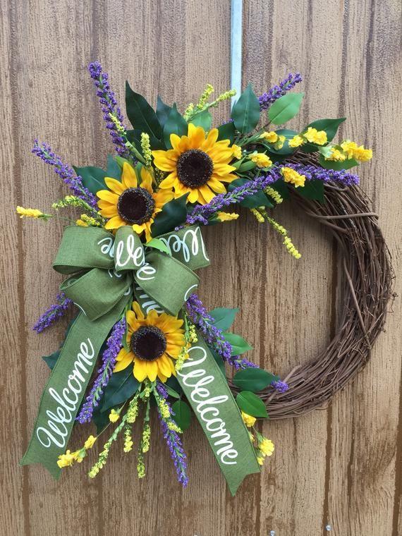 Photo of Sunflower wreath, sunflower and lavender wreath, spring or summer wreath, welcome wreath, welcome ribbon, peasant wreath, autumn wreath