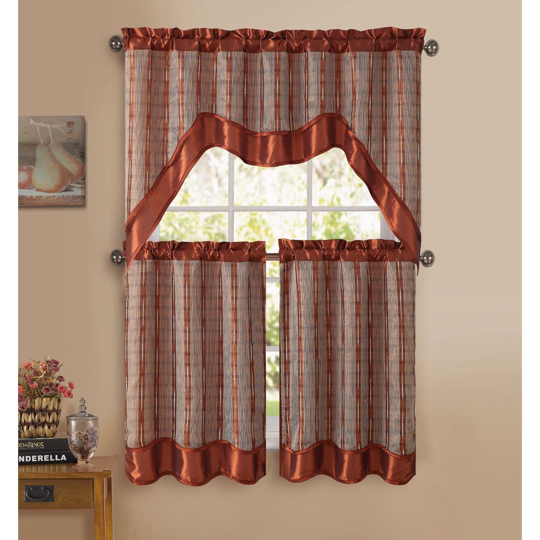 Vcny Sabrina 3 Piece Kitchen Curtain Set Kitchen Curtains