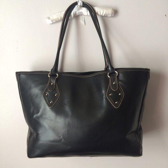 Large Merona Tote Bag Black S Gold Lining Silver Hardware Snap Closure
