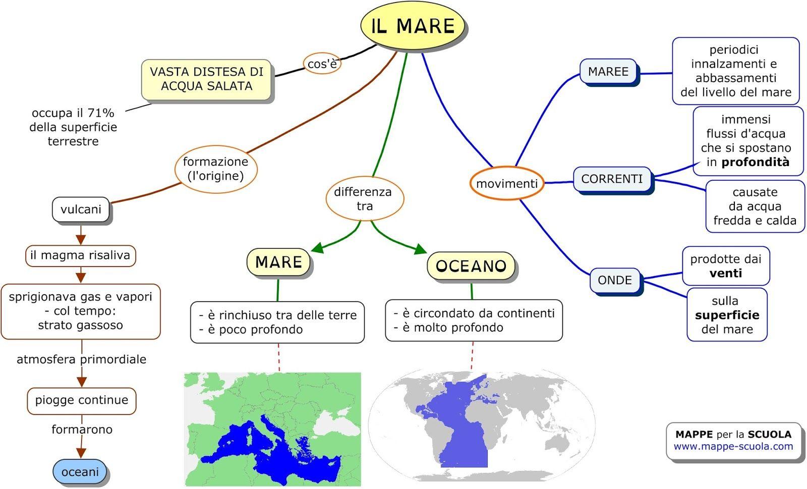 abbastanza Mappa concettuale sul MARE , le COSTE e le ISOLE STAMPARE LA MAPPA  BZ39