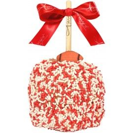 Red & White Football Sprinkle Caramel Apple