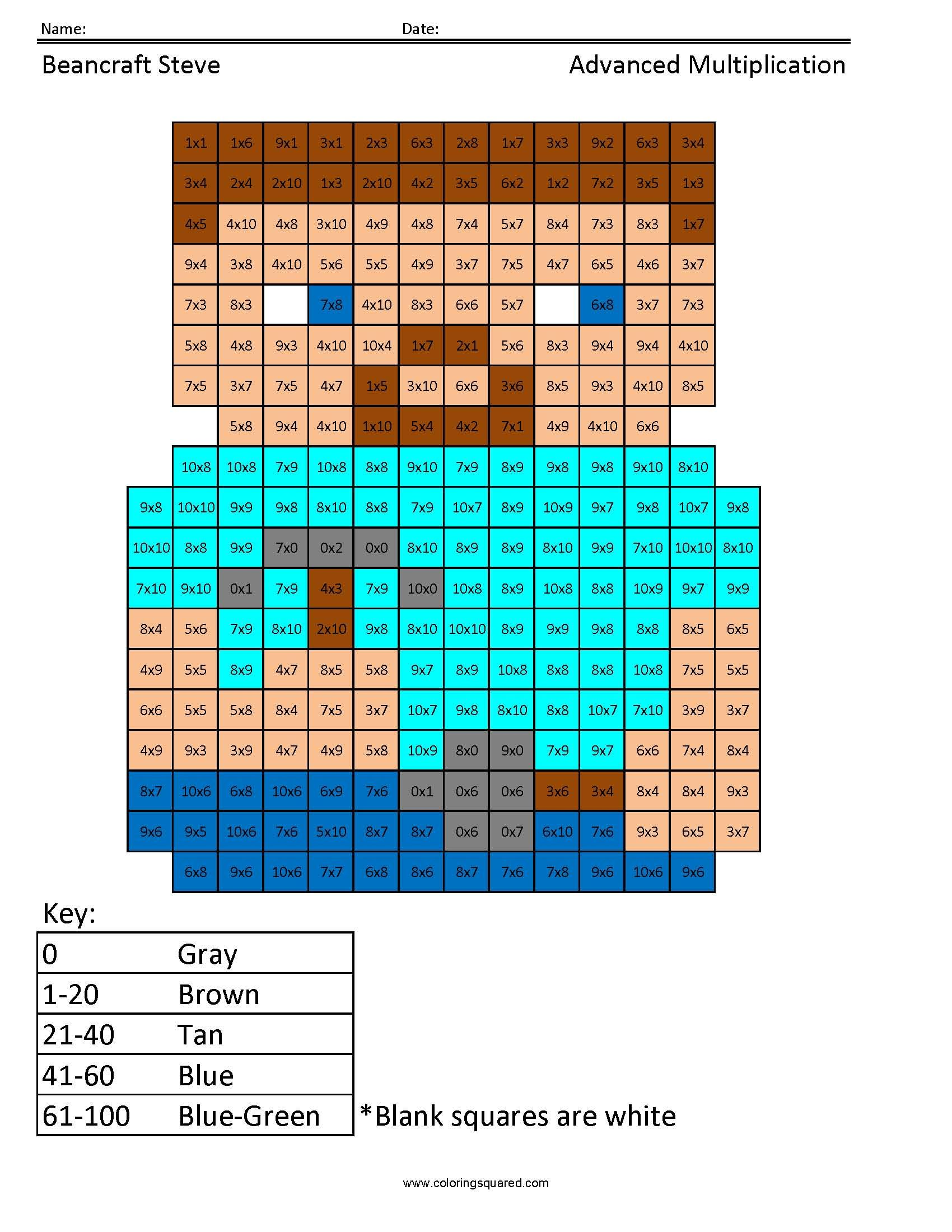 Beancraft Steve Advanced Multiplication Coloring Squared Multiplication Cool Pixel Art Math Facts [ 2200 x 1700 Pixel ]