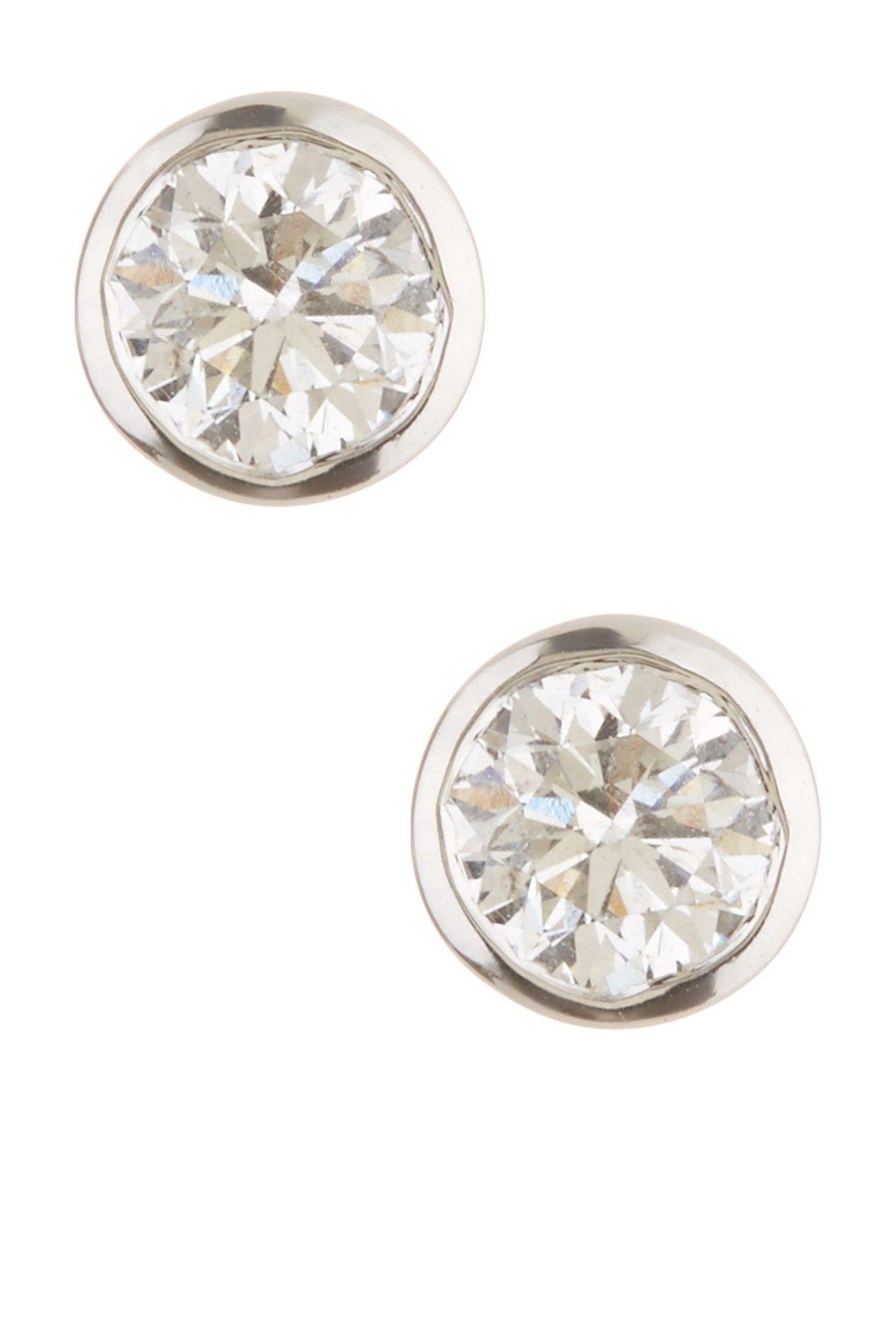4467e20bc 14K White Gold Bezel Set Diamond Stud Earrings - 0.75 ctw by Bony Levy on  @nordstrom_rack