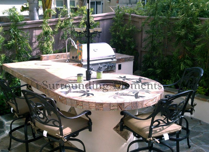 Grill, table w/umbrella & fire pit, PERFECT!   Decorating ...