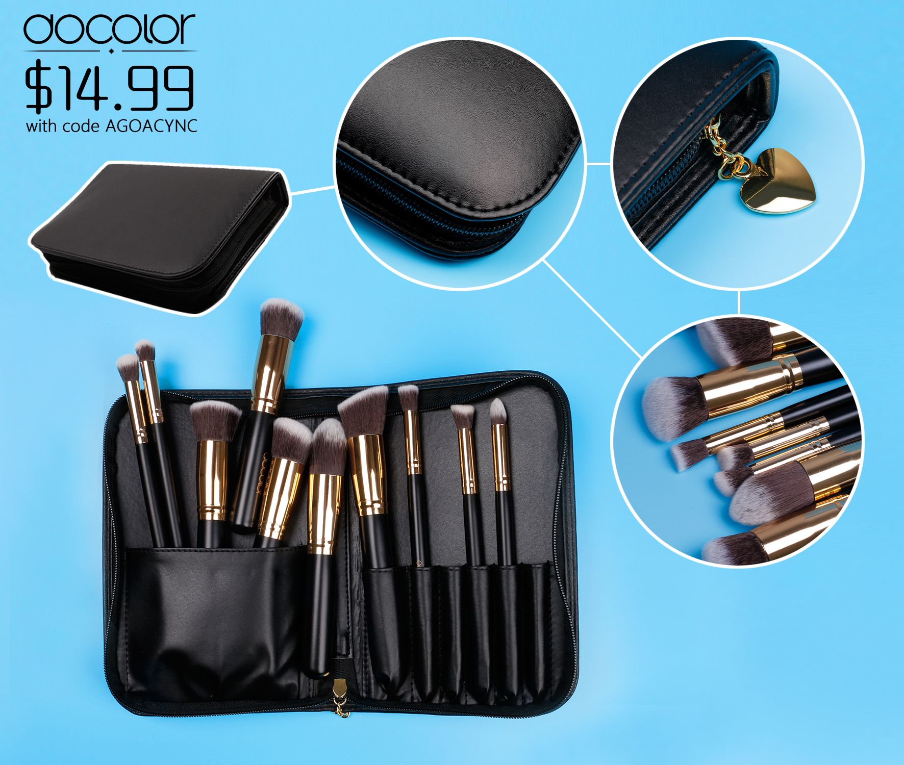 Golden Cosmetic Makeup Brush set! Get 25 off with code