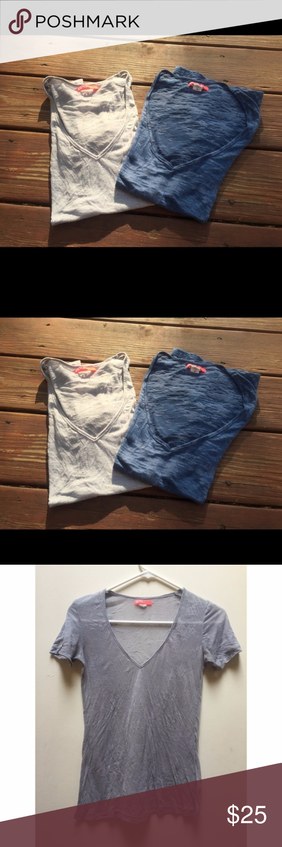 ☀️EUC 2 Urban Outfitters BDG Tee Shirts Lot Of 2 BDG by Urban Outfitters Short Sleeve V Neck Tee Shirts, both size small, one in heather blue & one in heather gray, in excellent used condition Urban Outfitters Tops Tees - Short Sleeve