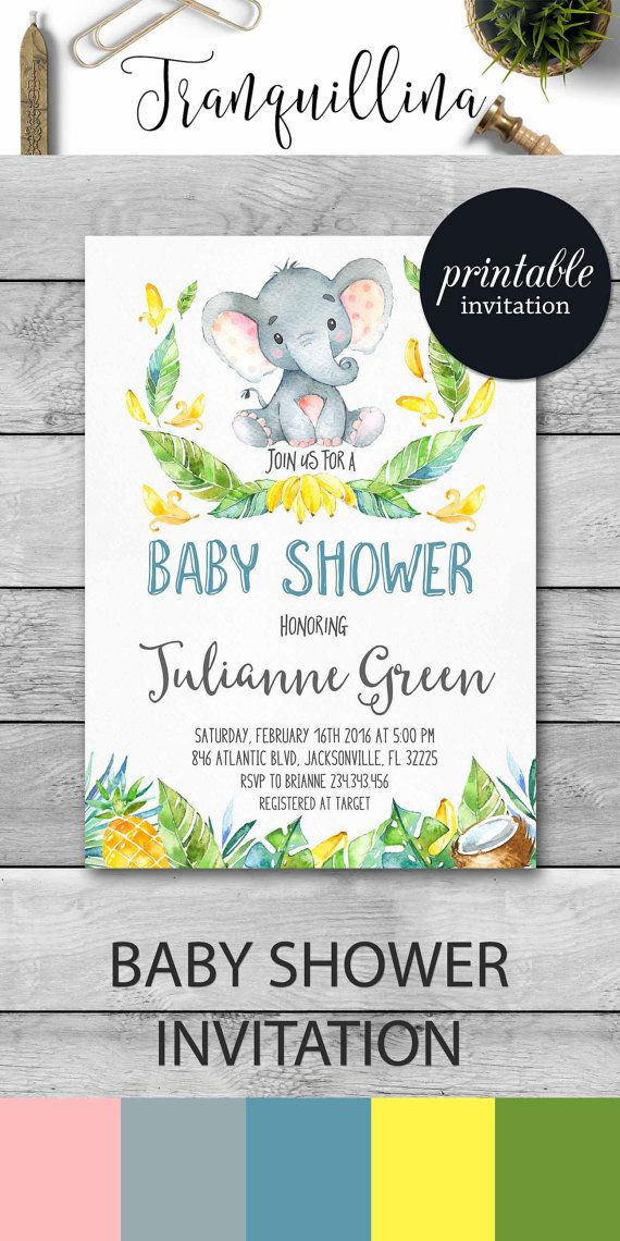 Boy Baby Shower Invitation Elephant Baby Shower Invitation Jungle