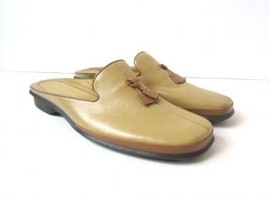 Enzo Angiolini LIght & Dark Tan Slip on Leather Sandals Size 5.5M $119.99
