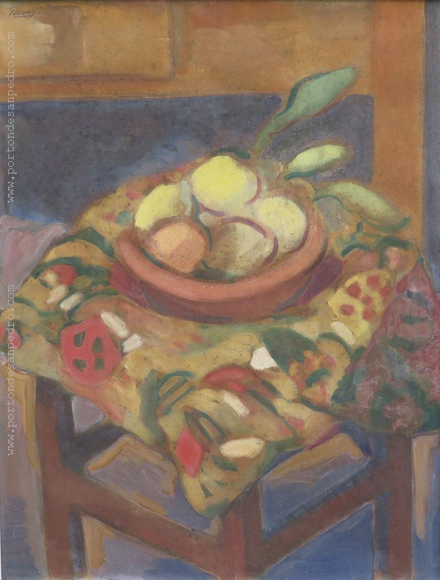 """Miguel Angel Pareja """"Bodegón"""" Óleo sobre tela  64 x 50 cm. Año 1940  Firmado y fechado arriba a la izquierda  http://www.portondesanpedro.com/ver-producto.php?id=13147"""