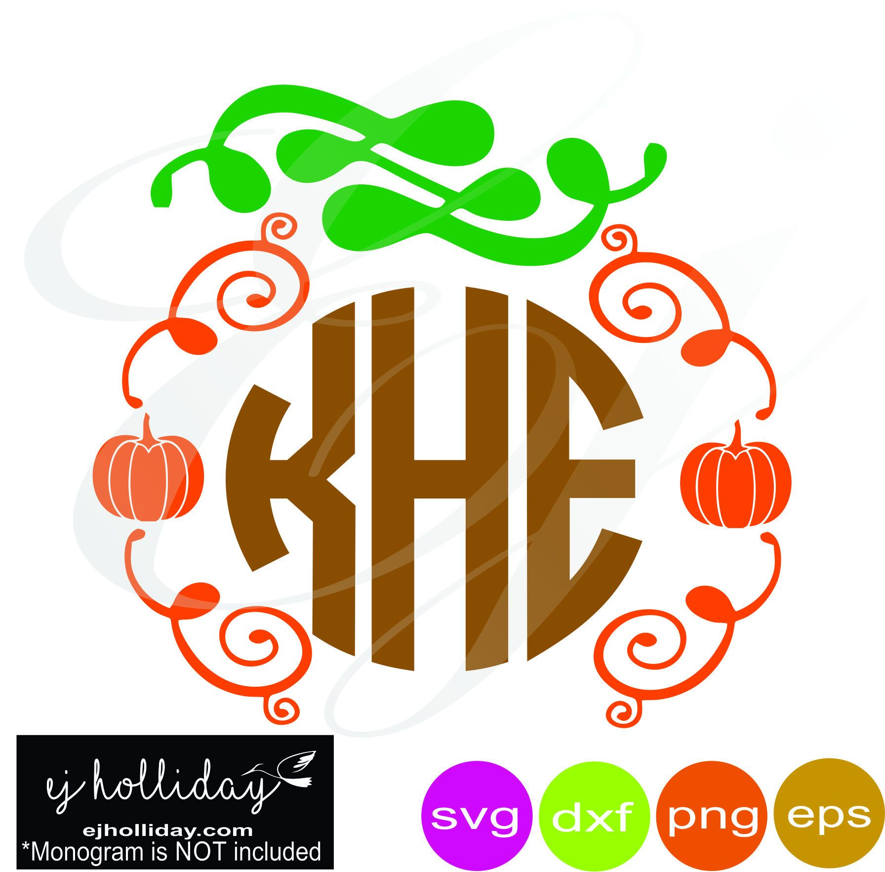Pumpkin wreath monogram frame svg dxf eps png arrows
