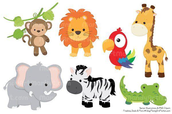 cute jungle animal clipart lion clipart and safari animals rh pinterest com jungle animal clipart images jungle animal clip art free