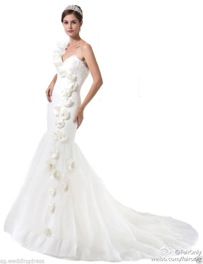 FairOnly White One Shoulder Wedding Dresses Bridal Gown Size 6 8 10 12 14 16