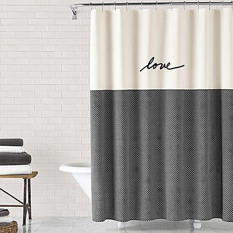 The Ed Ellen Degeneres Love Shower Curtain Features Ellen 39 S Signature Love In Black Em Bathroom Shower Curtains Long Shower Curtains Stylish Shower Curtain