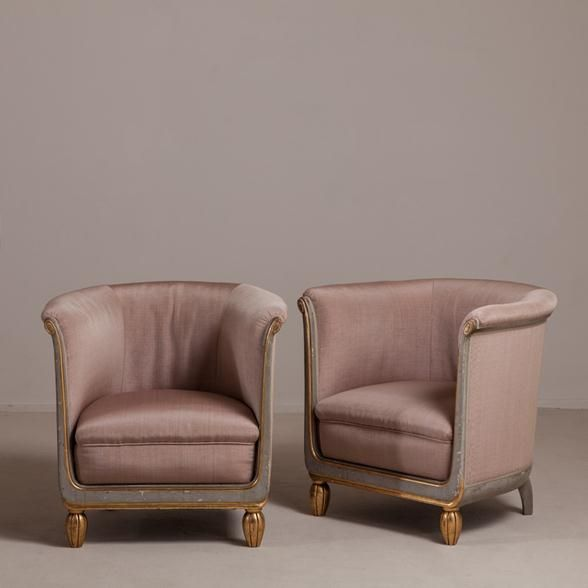 Talisman A Pair Of 1920s French Tub Chairs Upholstered By