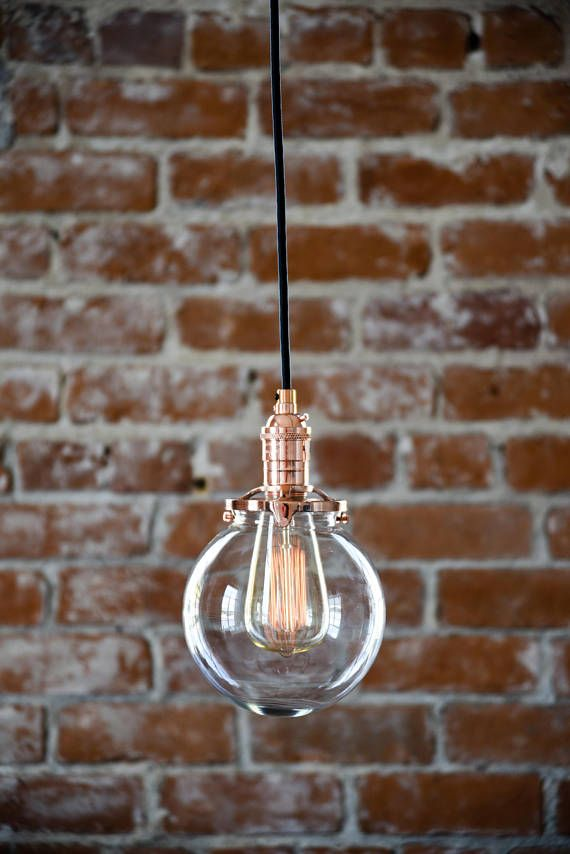 Industrial Pendant Light Copper Glass Bell Cone Shade Round Plug In ...