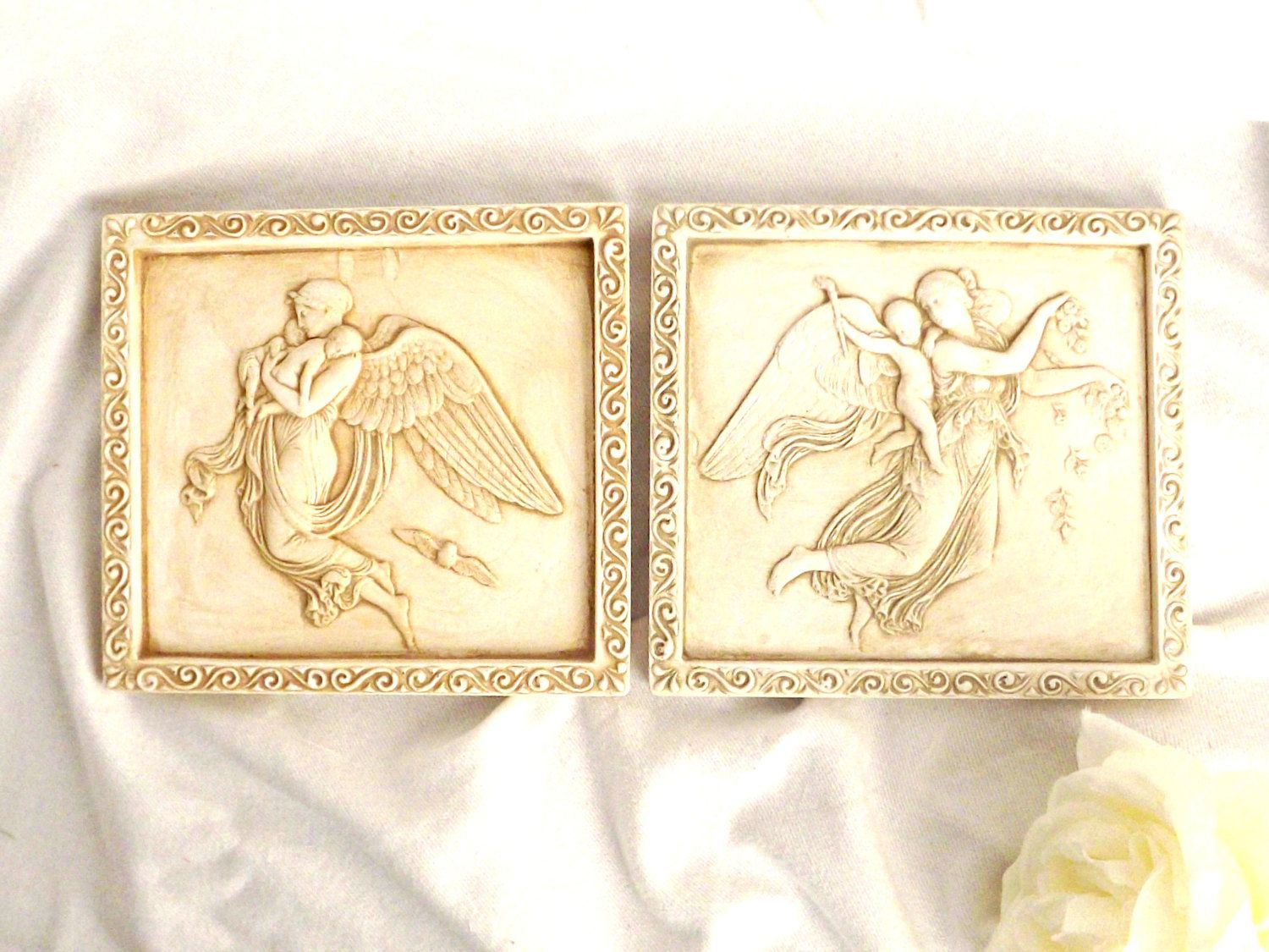 Guardian Angels Clay Wall Hanging, Home Decor, Wall Art, Cherubs ...