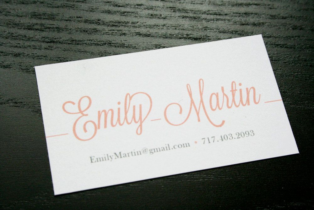 Modern script font calling card invitations modern