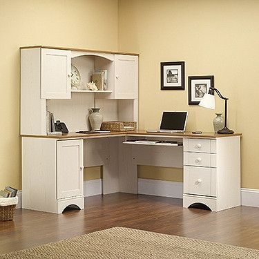 Now This Is A Home Office Workstation That You Can Be Proud Of It S Two Tone Look Glossy Wo White Corner Computer Desk Corner Computer Desk White Corner Desk