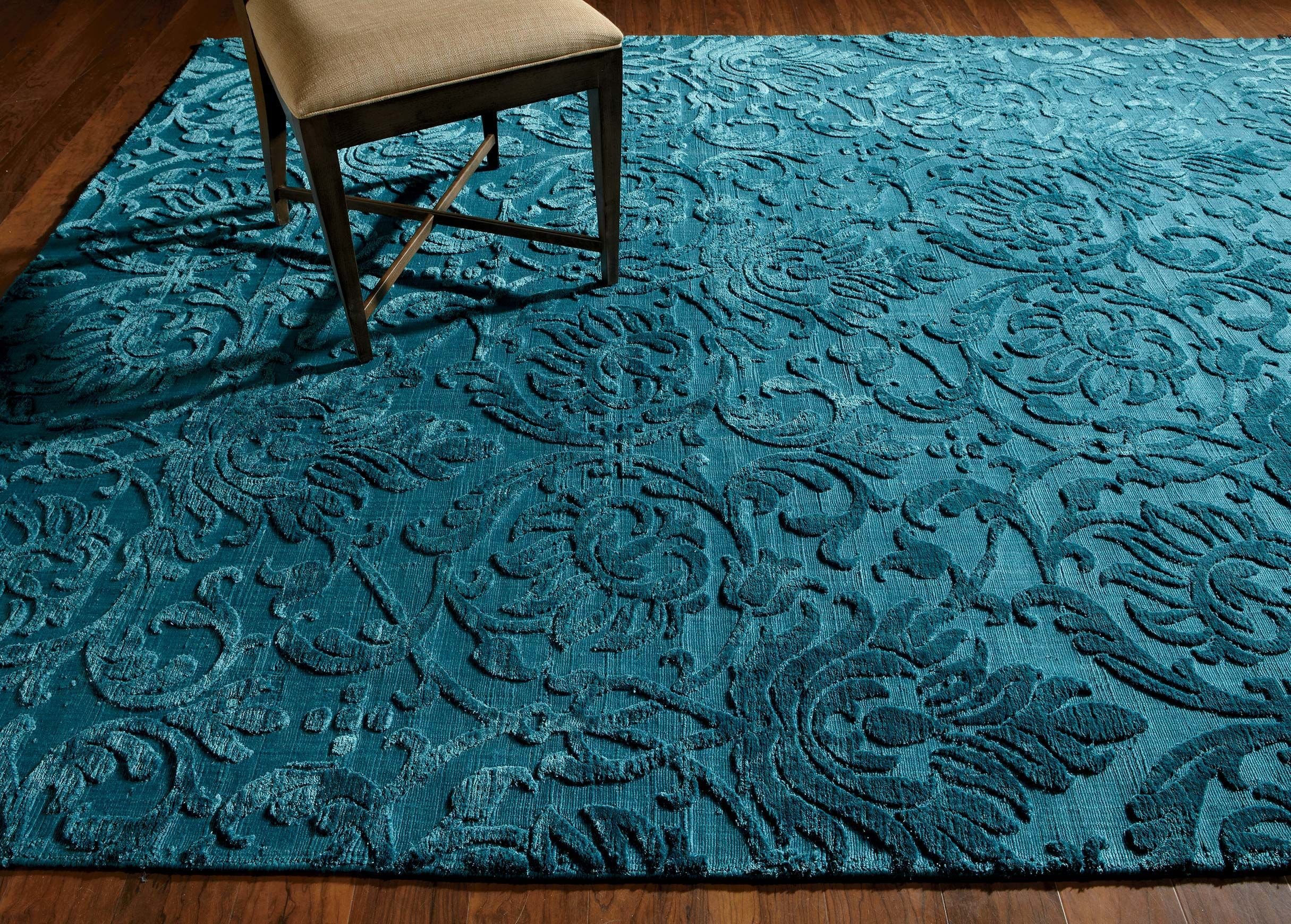 Ethan Allen Jacquard Damask Rug In Turquoise. Made By Hand In India From  100%