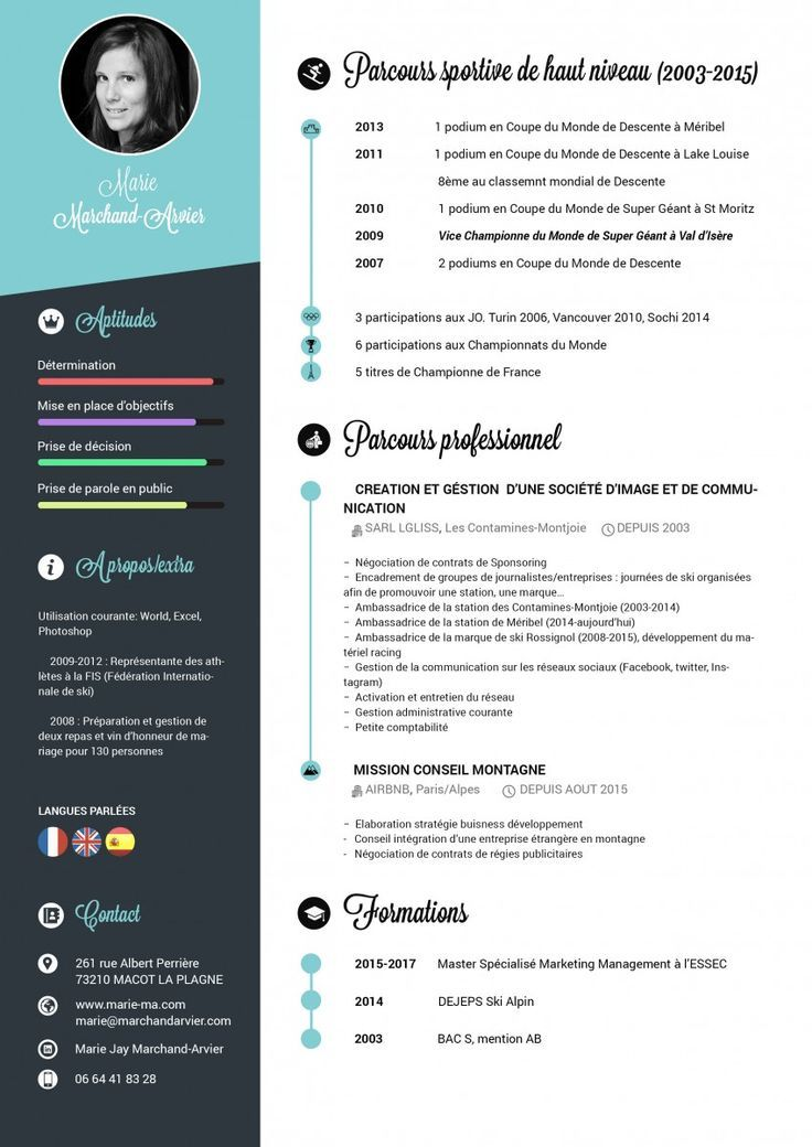 CV Graphique réalisé avec Photoshop by Marie Jay Cv template - infographic resume builder