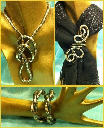 "36 inch 6mm thick Flexible Bendable Snake Jewelry Necklace Bracelet Scarf Holder Bendy Chain Twist Shape Design Silver Pewter Copper Striped by Trendy Bendy. $2.50. 36"" long bendable stainless steel. necklace. Enjoy twisting it into countles shapes to form your own wearable art. You are the Ultimate Designer!"