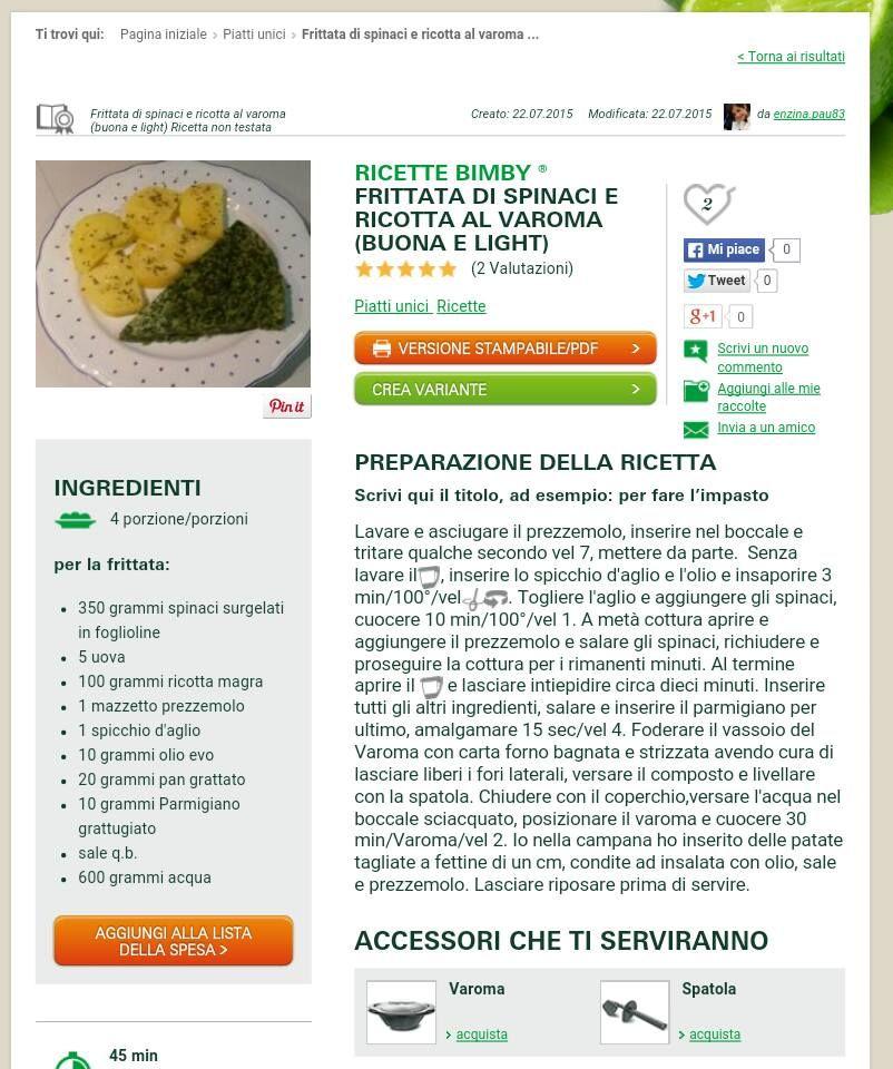 frittata spinaci ricotta