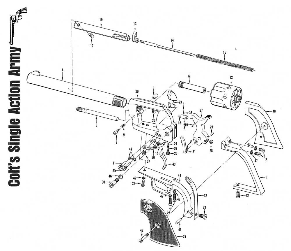 image result for colt single action army  45 schematics