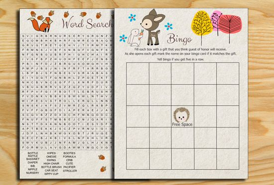 Free Printable Woodland Baby Shower Party Games