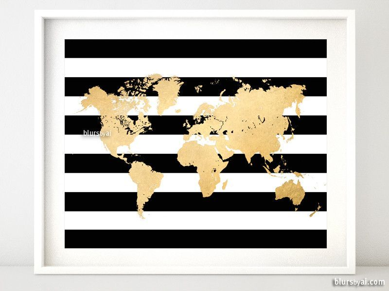 Gold foil world map printable with black and white stripes, no quote