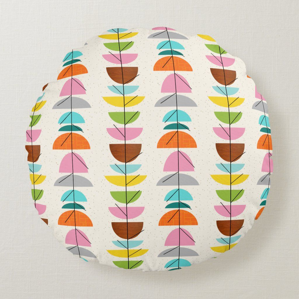 Retro Colorful Nests Round Pillow