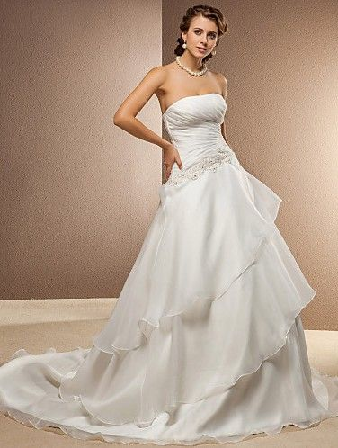 Discount A Line Wedding Dress Chapel Train Organza and Satin Strapless With Tiers and Beading Appliques Free Measurement