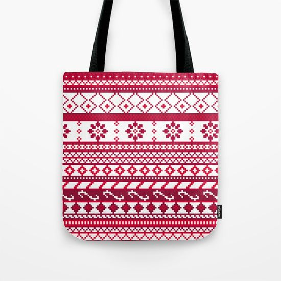 Red Fair Isle Christmas Pattern Tote Bag | My Style - Fall/Winter ...