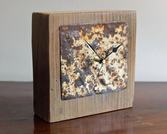 Industrial Mantel Clock Salvaged Wood And Rusty Metal Face Rustic Desk Clock 17 059 Small Mantel Clocks Rustic Desk Clock