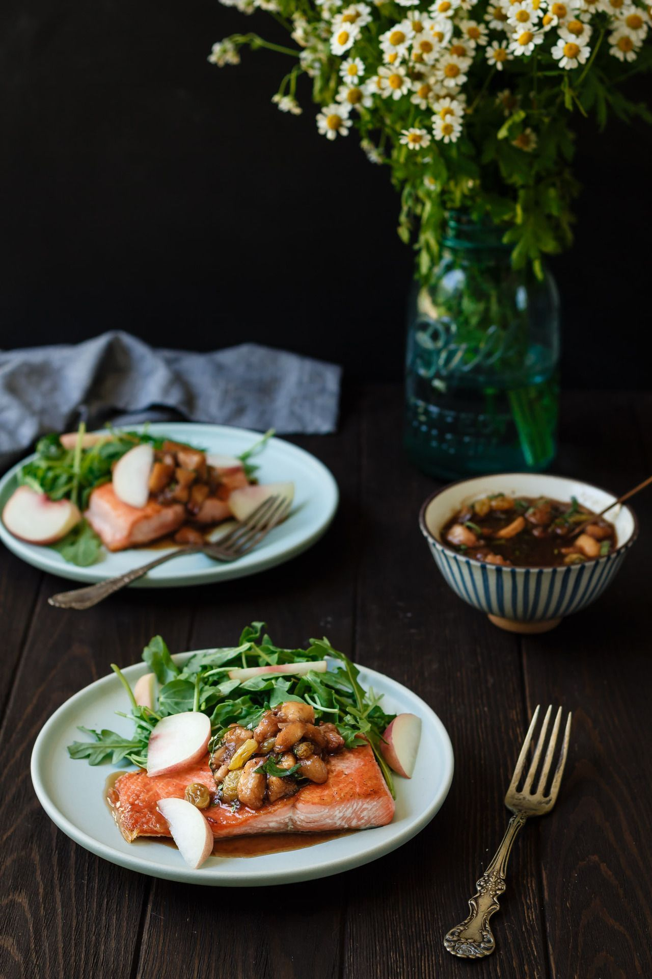 Pan Seared Salmon with Peach Basil Chutney #searedsalmonrecipes Pan Seared Salmon with Peach Basil Chutney #searedsalmonrecipes
