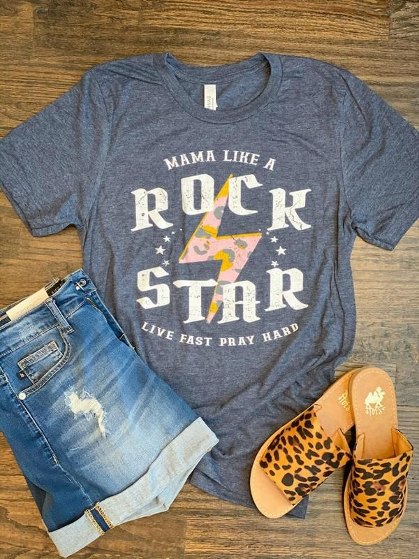 Mama Like a Rock Star Graphic T-shirt - Large