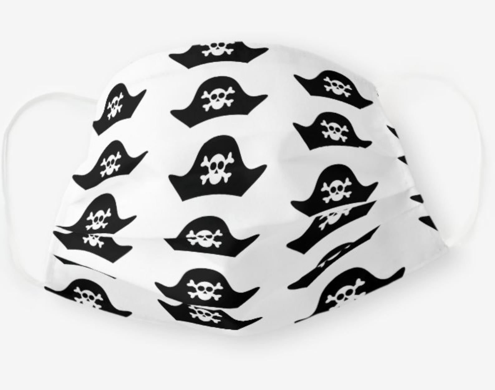 Pirate Hat Skull Crossbones Face Mask Zazzle Com In 2020 Face Mask Skull And Crossbones Pirate Hats