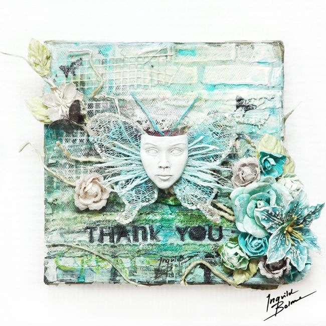 """Thank You"" canvas made for a sweet and helpful person.  Brand New Shabby Chic Resin Treasure mask from my Prima summer 2012 release! ;O)"