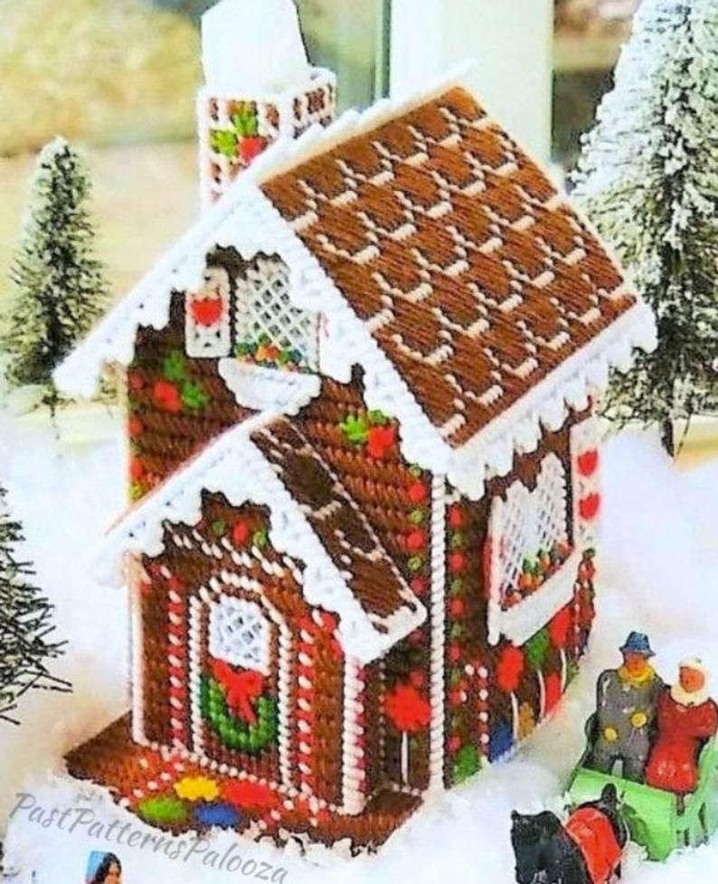 gingerbread house template etsy  Vintage Plastic Canvas Pattern Snowy Gingerbread House ...